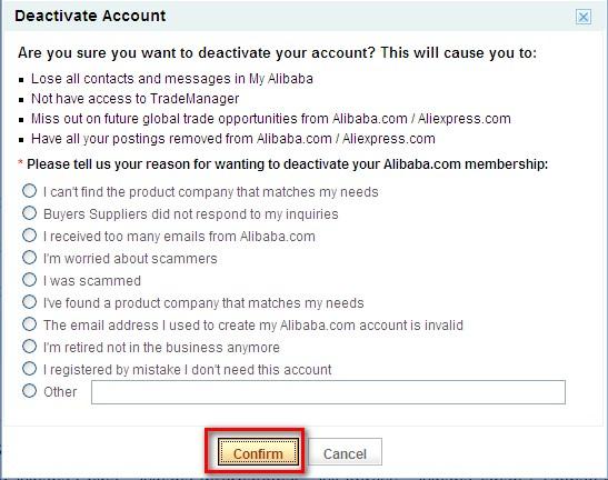 Выбор причины удаления аккаунта покупателя на сайте Aliexpress.com