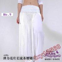 Belly Dance Elasticity Sequins Tassels Hip Scarf Belt