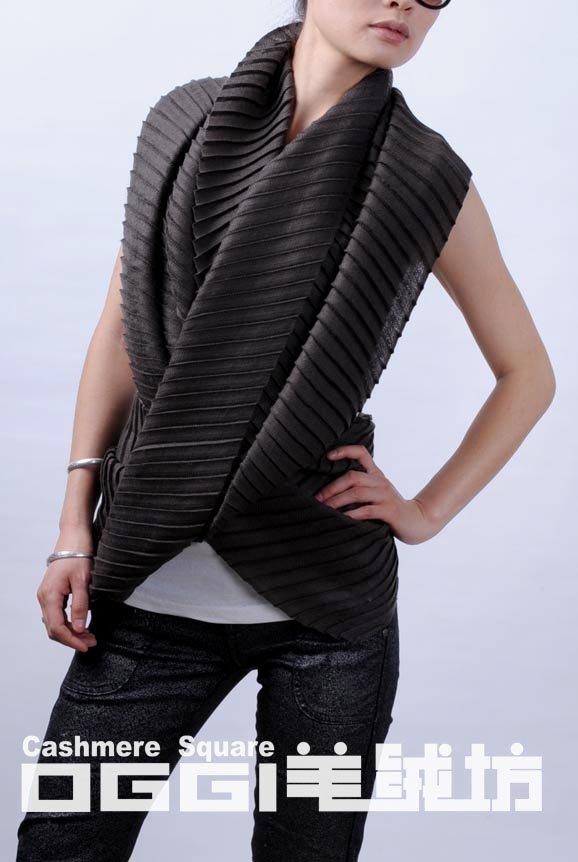 último diseño de arrugas 100% las ondas de la bufanda de cachemira