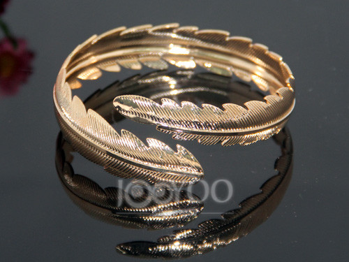 4pcs/lot 2016 Newest Punk Leaf Metal Bangles Fashion Gold&Silver Plated Women Bracelets Jewelry Accessory Free Shipping JY-8408