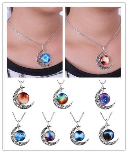 Newest Choker Necklace Glass Galaxy Lovely Pendant...